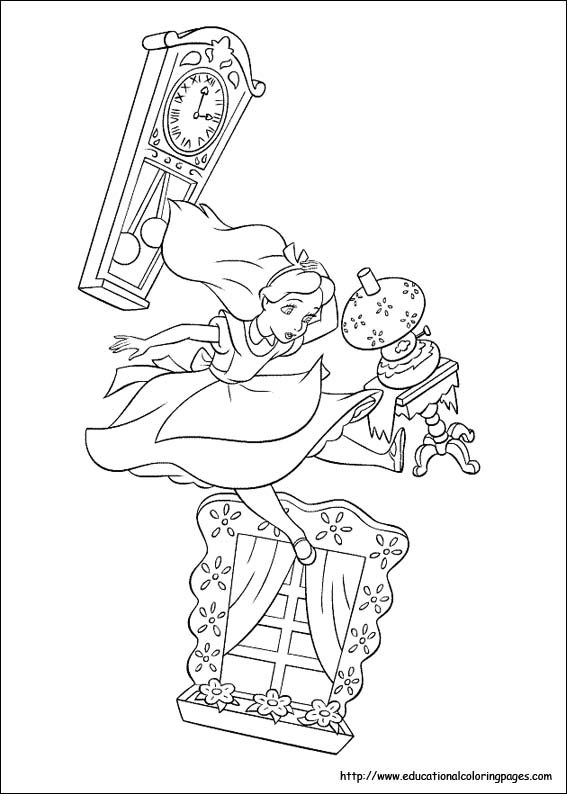 bookmark - Alice Wonderland Coloring Page