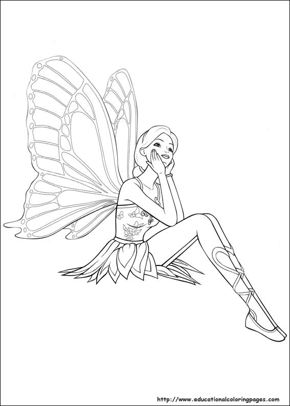 Barbie Mariposa Coloring Pages Babie Mariosa Image