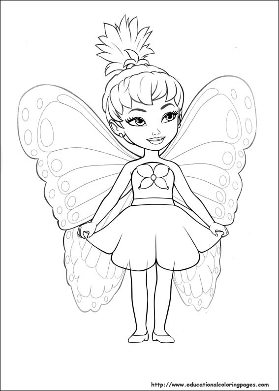 Barbie mariposa coloring pages free for kids for Barbie coloring pages for kids
