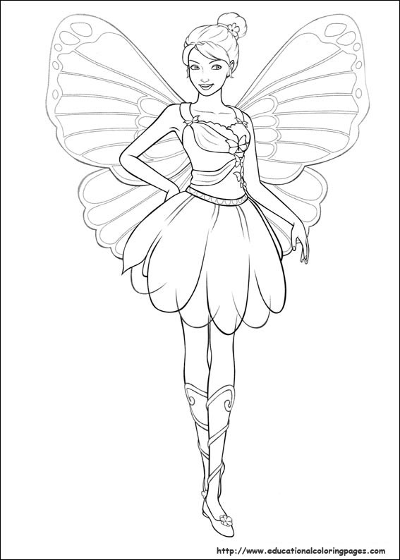 Barbie mariposa coloring pages free for kids for Barbie ballerina coloring pages