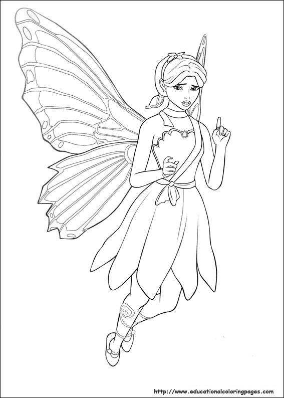 Barbie Mariposa Coloring Pages Free For Kids