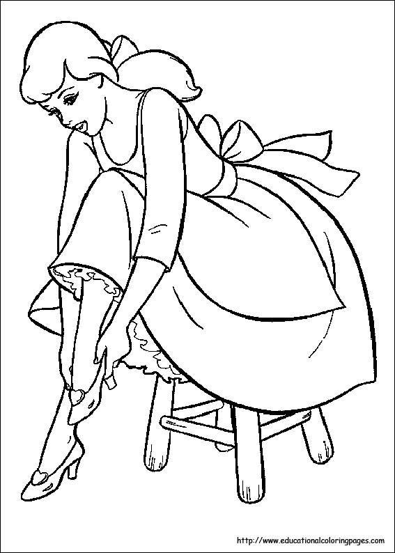 Cinderella coloring pages free for kids for Cinderella coloring pages online