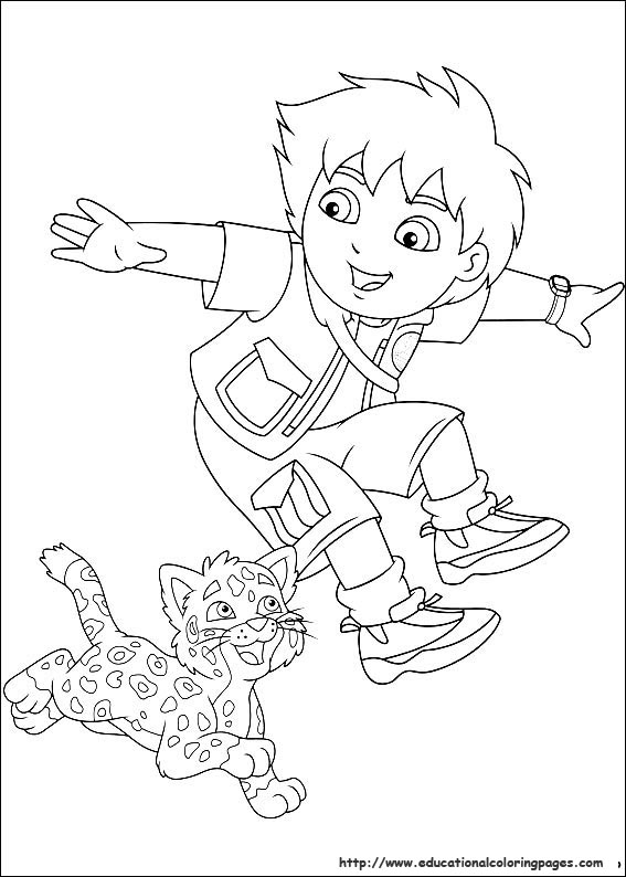 Diego Educational Fun Kids Coloring Pages and Preschool Skills