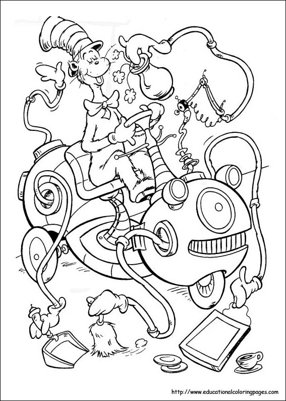 coloring pages for kids - dr seuss coloring pages - Kitty Doctor Coloring Pages