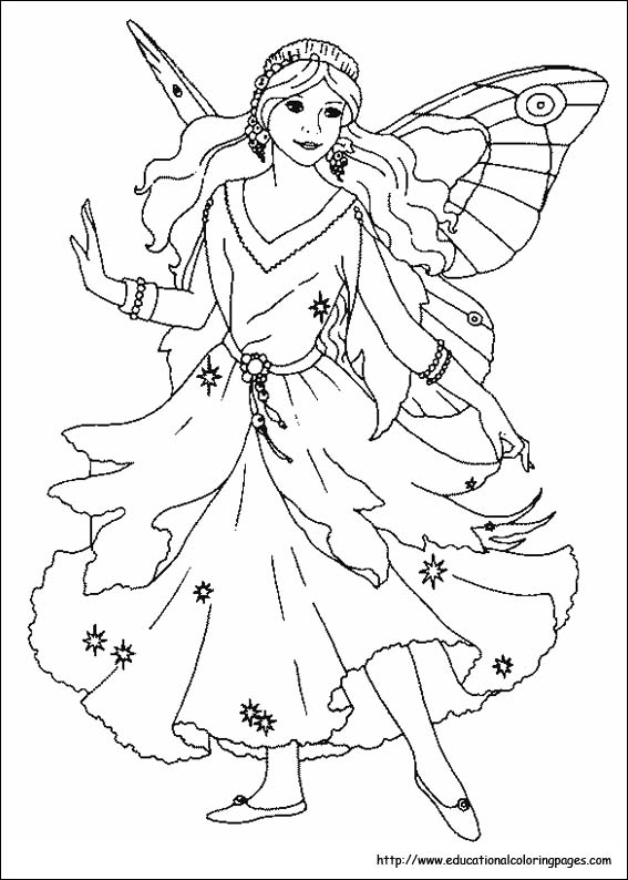fantasy realistic fairy coloring pages - photo#21