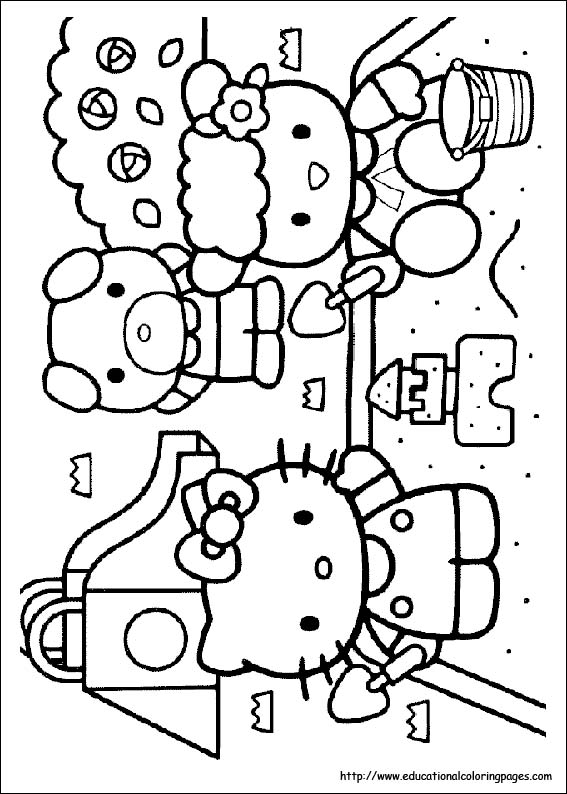 hello kitty coloring pages free for kids - Coloring Pages Kitty Summer