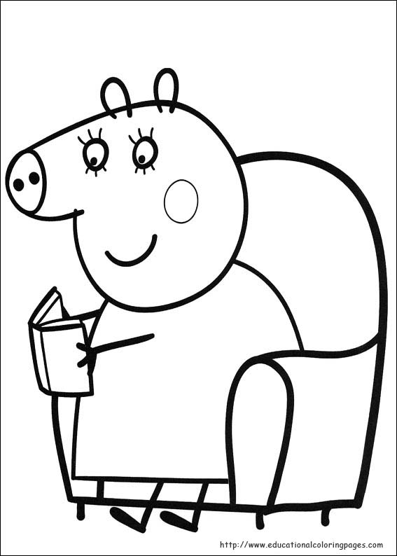 Peppa Pig Colouring Pages : Peppa pig in a coloring pages