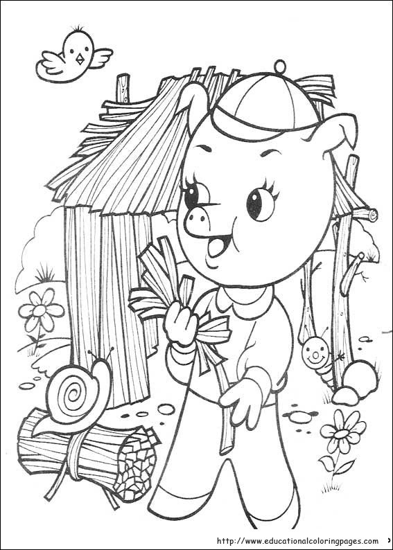 The three little pigs Coloring - Educational Fun Kids Coloring ...