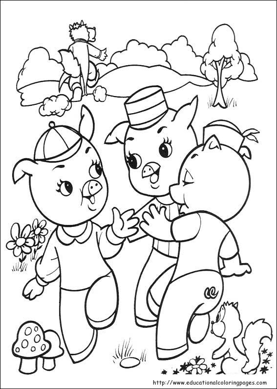 The three little pigs Coloring - Educational Fun Kids ...