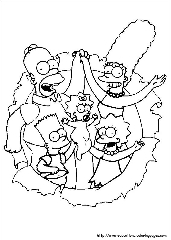 the simpsons coloring pages free for kids - Printable Simpsons Coloring Pages